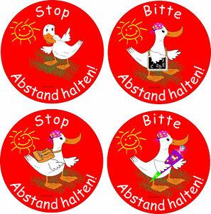 Aufkleber Abstand halten kratzfest,Sticker Abstand mit lustigen Entenmotiven
