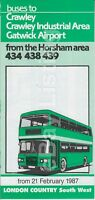 ORIGINAL LONDON COUNTRY SOUTH WEST BUS TIMETABLE FOR SERVICES 434/438/439 - 1987