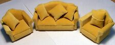 1:12 Scale 3 Piece Beige Sofa Settee & Chairs Tumdee Dolls House Miniature 924