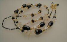 Spectacle Glasses Eyewear Beaded Chain Holder - Citrine & Black Crystal