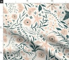 Garden Stars White Pink Leaves Whimsical Spoonflower Fabric by the Yard