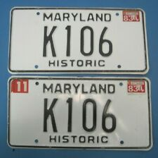 1983 Maryland Historic License Plates Matched Pair