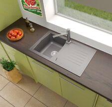 Küchenspüle Einbauspüle Spüle Granit Spülbecken Mineralite 86x50 grau respekta