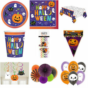 Halloween Party Plates Cups Napkins Hanging Decoration Banners Balloons