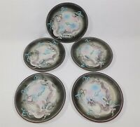 "Set of 5 Hand Painted Raised Dragon Plates 7.25"" Japan"