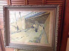 "STEAMPUNK ART ""THE RAILROAD UNDERPASS"" Vincent VanGogh GESSO FRAME 36"" x 30"""
