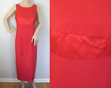 Vintage 80s Donna Ricco Red Long Red Gown Formal Designer Dress Size Small