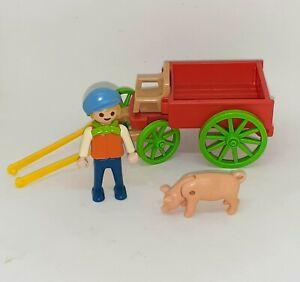 Vintage Playmobil Kid Figure Pig Animal Farmer w/ Wagon Cart Lot