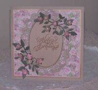 """Vintage handcrafted birthday card """"Antique pink handmade roses"""" With verse."""