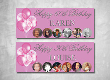 Personalised Birthday Party Banner 18th/21st/30th/40th/50th/60th Pink Balloons