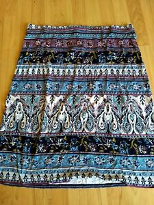 NWT J Jill Wearever Collection Paisley Medallion Straight Maxi Skirt in Size PL