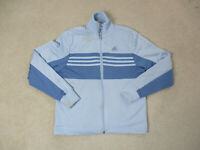 Adidas Sweater Womens Small Blue Stripes Trefoil Full Zip Lightweight Ladies *