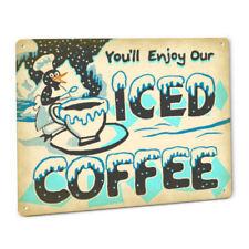 Iced Coffee Metal Sign Kitchen Cafe Diner Shop House Espresso Grind Penguin Mug