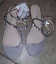 Women's ZARA NWOB Tan  Leather Thongs Ankle Straps cute!! Diamond Like Straps !!
