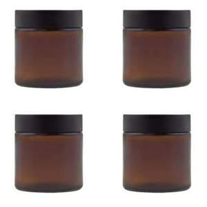 4 x Glastiegel braun 120 ml Tiegel leer Cremedose Glas Kosmetikdose + Etiketten