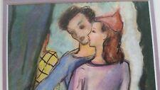 J. Rubin signed 1946 original mixed media man and woman painting EC framed