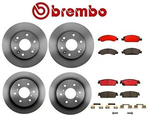 Front & Rear Coated Disc Brake Rotors Ceramic Pads Brembo For Cadillac GMC Chevy