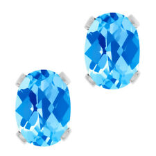 2.60 Ct Oval Checkerboard Blue Topaz Silver Plated 4-prong Stud Earrings 8x6mm