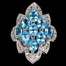 Oval Swiss Blue Topaz 6x4mm Sapphire Diamond Cut 925 Sterling Silver Ring Size 8