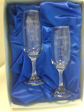 Dema Wedding Celebration Romance Champagne Flutes Glasses Doves Birds Gift Set
