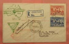 1936 Australia Rocket Mail Cover Registered Variety Ez# 7C1a * Ex Al Barnes
