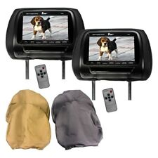 "(2) 7"" VIDEO HEADREST LCD MONITOR UNIVERSAL T-VIEW ALL 3 COLORS BLACK TAN GRAY"
