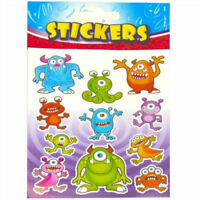 6 Monster Sticker Sheets - Pinata Toy Loot/Party Bag Fillers Wedding/Kids