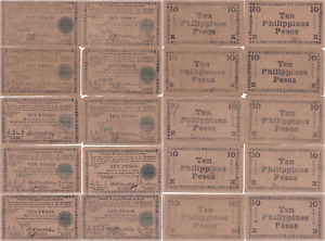 1945 10 Pesos Philippines Guerrilla Currency Negros Province 10 Note Lot S683