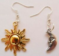 Sun and moon earrings, mismatched earrings, gold sun and silver moon earrings