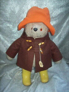 "1972 'GABRIELLE DESIGNS MOHAIR 20"" PADDINGTON BEAR with DUNLOP BOOTS / WOOL FELT"