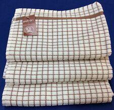 Samuel Lamont Poli-Dri Kitchen/Tea Towels White/Brown 3 Piece Set 100% Cotton