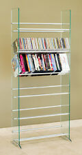 Cd Dvd Rack /Stand 6 Cd/Dvd Shelves 336 Cd 234 Dvd 138 Vhs Glass Tower Rack -New