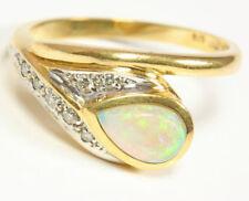 750 18kt Damen Opal Brillant Gold Ring Opalring Brillantring Brillanten Diamant