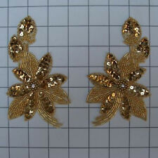 SEQUIN BEADED FLOWER PAIR APPLIQUES 2465-E