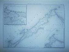 Carte 19° année 1864 Carte de la plage d'Alexandrie Egypte