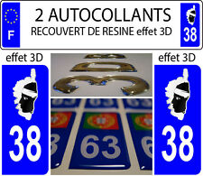 2 stickers plaque immatriculation auto DOMING 3D RESINE DRAPEAU CORSE DEPA 38