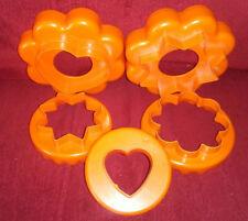 Tupperware Nesting Cookie Biscuit Cutters Orange Flower Heart Star Ruffle Edges