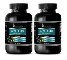 Pure ACAI Berry 1200mg Powder Cleanse Antioxidant Anti-Aging 2 Bot 120 Capsules