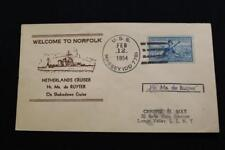 NAVAL COVER 1954 SHIP CANCEL WELCOME TO NORFOLK NETHERLANDS SHIP DE RUYTER (2549