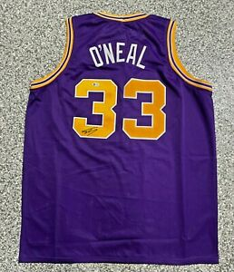 Shaquille Shaq O'Neal Signed Purple Jersey Auto Beckett BAS Witnessed COA
