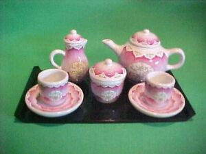 AMERICAN GIRL TEA SET ~ FELICITY ~TEA POT,CREAMER & SUGAR BOWL, 2 CUPS & SAUCERS
