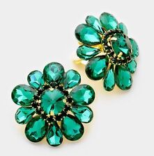 "1.5"" Clip On Stud Dark Green Emerald Gold Rhinestone Austrian Crystal  Earrings"
