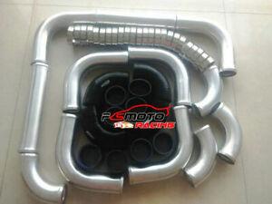 "2.25"" INCH 57mm BLACK hose Aluminum Universal Intercooler Turbo Piping pipe Kit"