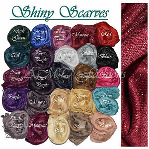 New Plain Color Shiny Shimmer Glitter Sparkly Scarf Hijab Shawl Wrap Wedding Eid