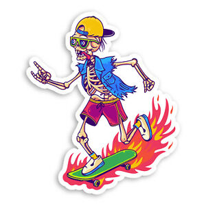 2 x 10cm Skateboarding Skeleton Vinyl Stickers - Skate Teen Skull Sticker #70021