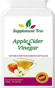 Apple Cider Vinegar 500mg 120 Capsules - ACV UK Manufactured to GMP Standards