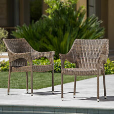 Montego Outdoor Mix Mocha Wicker Stacking Chairs (Set of 2)