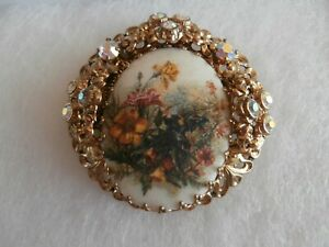 Vintage gold metal hand painted and AB brooch pretty and very unusual design