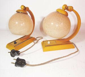 2 Lampe de Chevet 1950er Mid Century Lampe Boule Vintage Déco Lampes Table