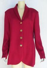 ST JOHN Marie Gray Jacket 14 Russian Red Wool Blend Santana Knit Logo Buttons